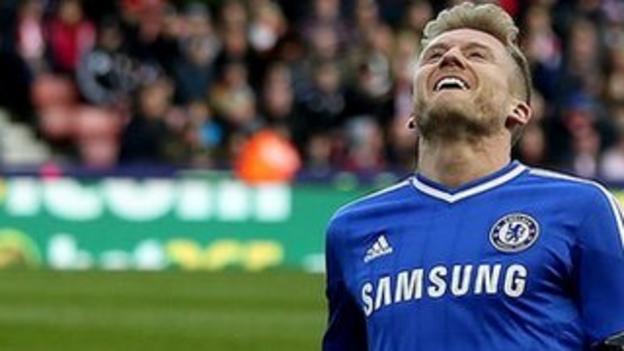 Chelsea's Andre Schurrle celebrates his first-half goal against Stoke
