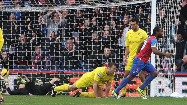 Cameron Jerome opens the scoring for Crystal Palace as they take on Cardiff City in the Premier League