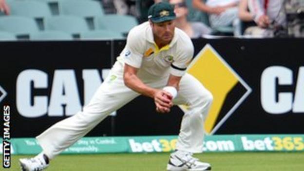 Ryan Harris catches Alastair Cook