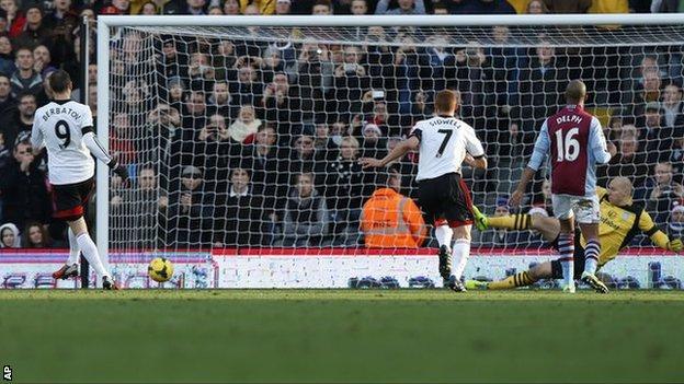 Dimitar Berbatov (right) scores Fulham's second against Aston Villa