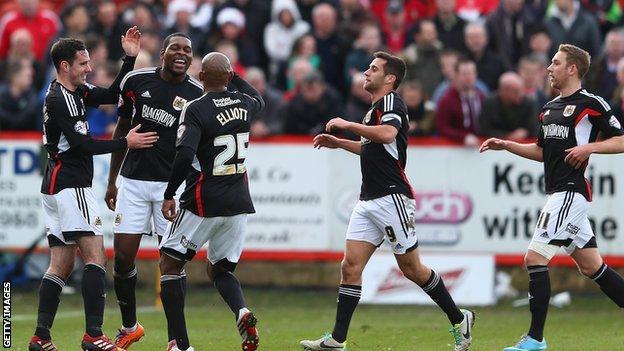 Bristol City celebrate Jay Emmanuel-Thomas's goal at Tamworth