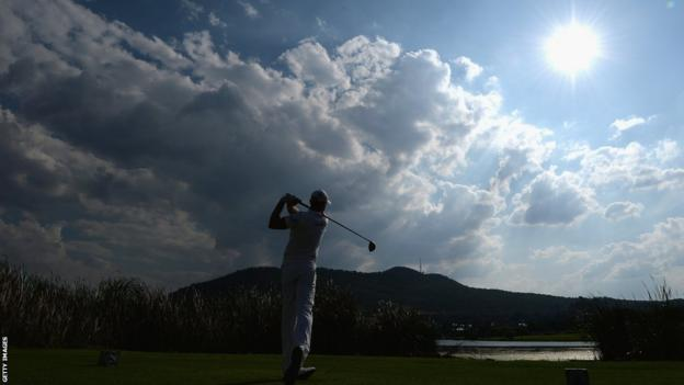 The sun casts a shadow over Jamie Donaldson as he finishes second at the Golf Challenge in Sun City, South Africa