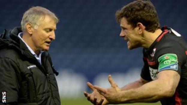 Edinburgh coach Alan Solomons and centre Nick De Luca