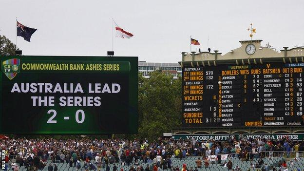 The Adelaide scoreboard
