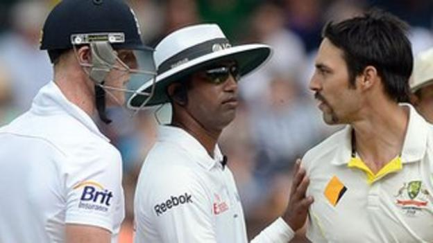 England all-rounder Ben Stokes (left) and Australian bowler Mitchell Johnson clash on the fourth day of the second Test