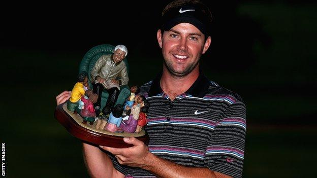 Scott Jamieson with the inaugural Nelson Mandela Championship trophy