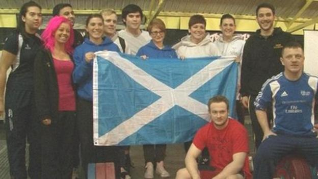 The Scotland weightlifting team in Cardiff