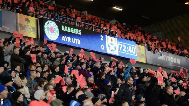 Rangers fans hold up red cards