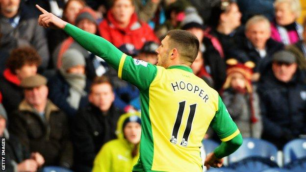 Gary Hooper scored for Norwich City against West Brom