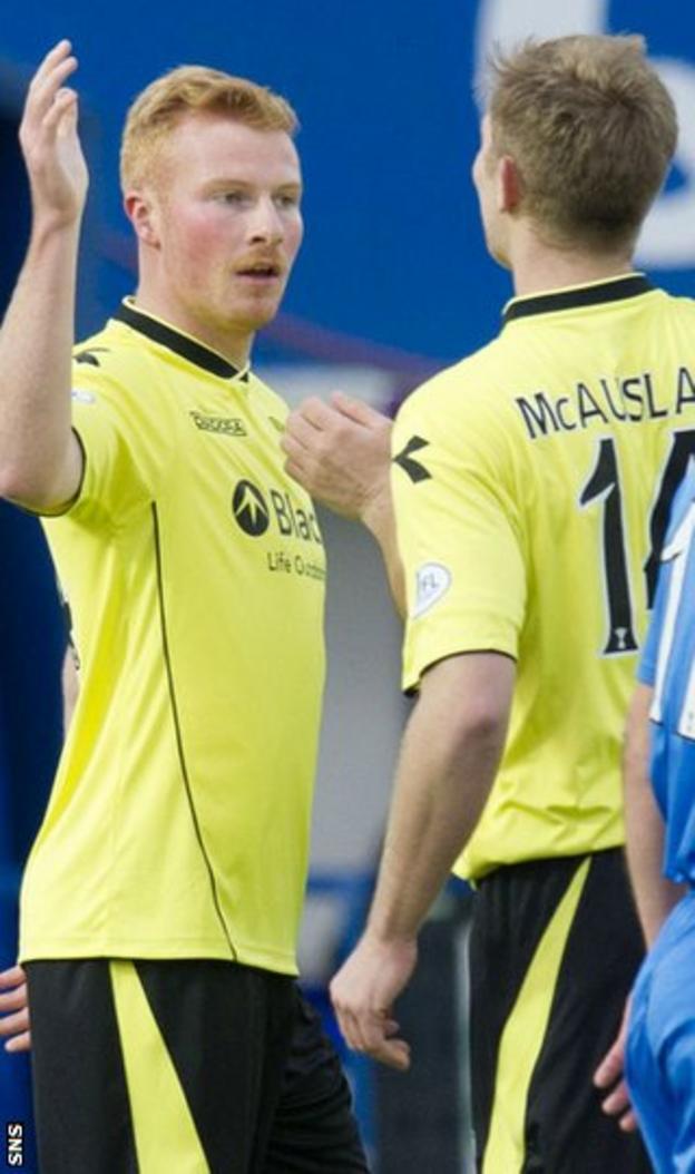 Conor Newton celebrates a goal for St Mirren