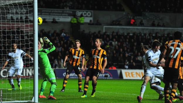 Defender Chico Flores scores to bring Swansea level against Hull City in a game which finished 1-1 at the Liberty Stadium.