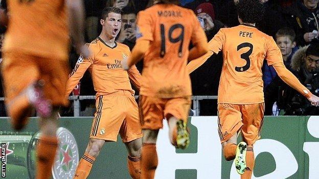 Real Madrid's Cristiano Ronaldo celebrates scoring against Copenhagen