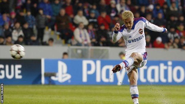 Japan midfielder Keisuke Honda, left, in action for CSKA Moscow