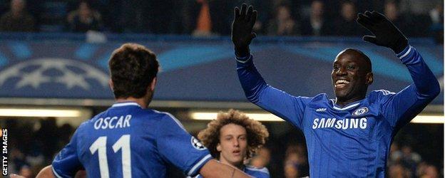 Demba Ba celebrates with Oscar