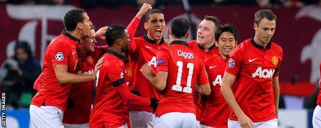 Manchester United celebrate during the 5-0 win over Bayer Leverkusen