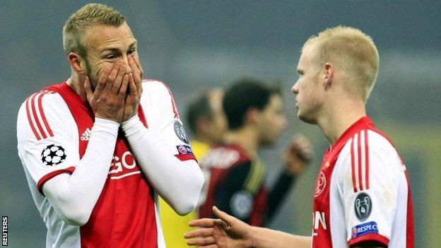 Ajax players react after they are knocked out by Milan