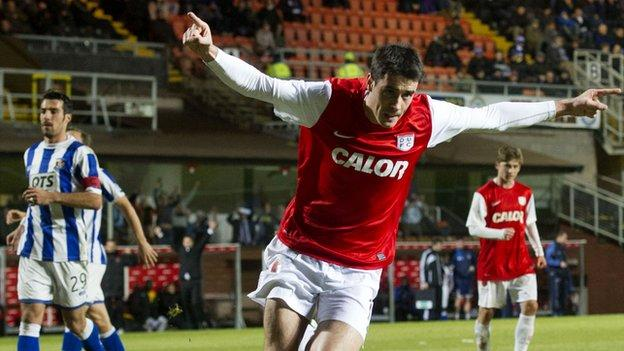 Dundee United's Brian Graham celebrates against Kilmarnock