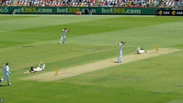 Chris Rogers is run out