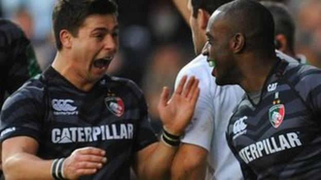 Ben Youngs (left) congratulates Miles Benjamin after the winger's opening try against Montpellier