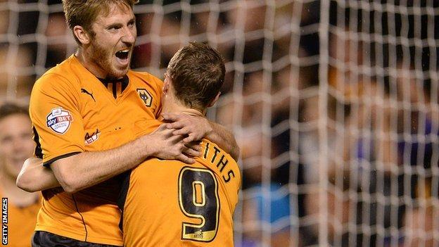 James Henry of Wolves celebrates scoring the first goal with team mate Leigh Griffiths