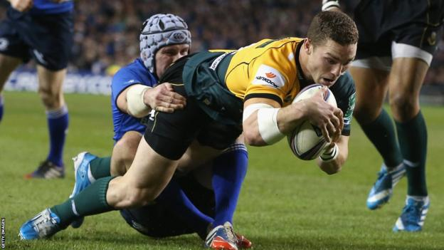 George North goes over for Northampton in the Heineken Cup against Leinster in Dublin