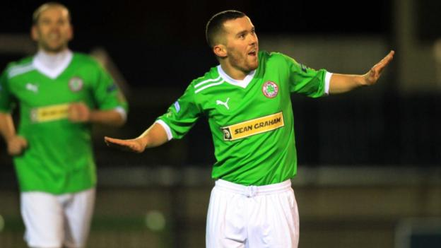 Martin Donnelly celebrates after scoring the second goal in Cliftonville's 4-0 win over Ards