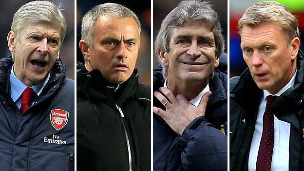 Arsenal manager Arsene Wenger (left), Chelsea boss Jose Mourinho (second left), Manchester City manager Manuel Pellegrini (second right) and Manchester United boss David Moyes
