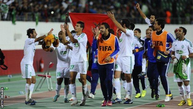 Raja Casablanca's players celebrate victory over CF Monterrey in Agadir