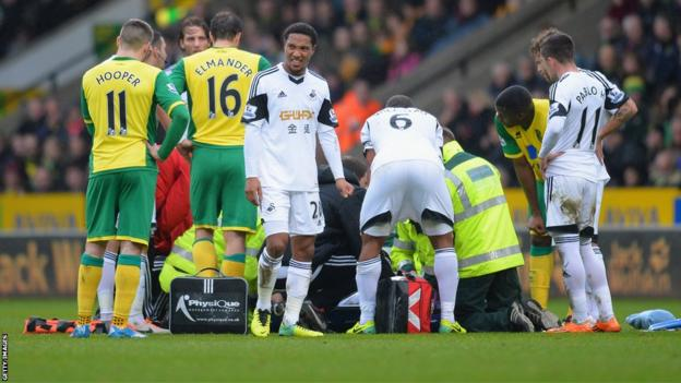 But Dyer's afternoon ends prematurely when he is stretchered off with a a suspected broken ankle.
