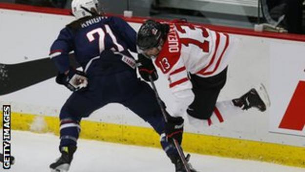 Canada women take on the USA at ice hockey