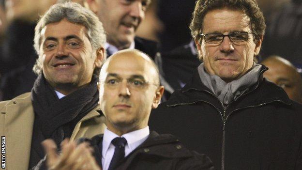 Tottenham chairman Daniel Levy (centre), Spurs technical director Franco Baldini (left) and Fabio Capello