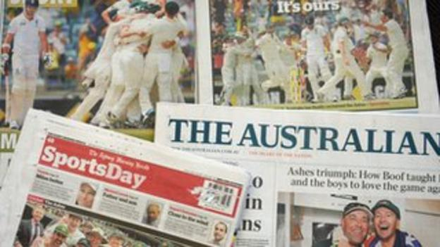 Australian papers after the Ashes win