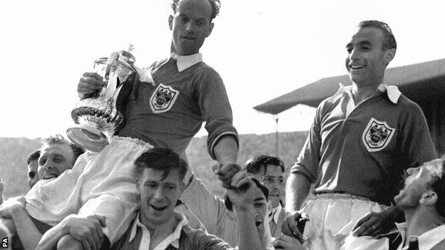 Blackpool celebrate their 1953 FA Cup final victory
