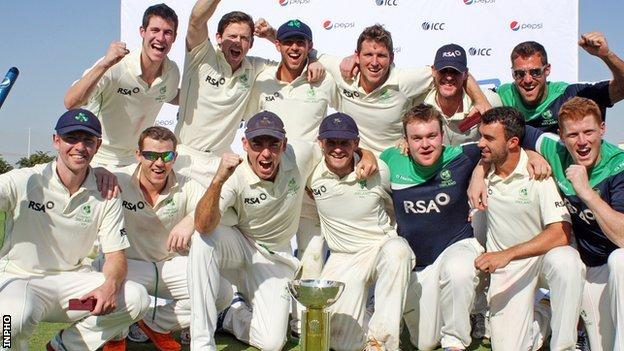 Ireland celebrate after beating Afghanistan in the 2013 Intercontinental Cup final