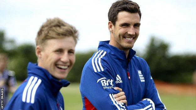 England cricketers Joe Root (left) and Steven Finn