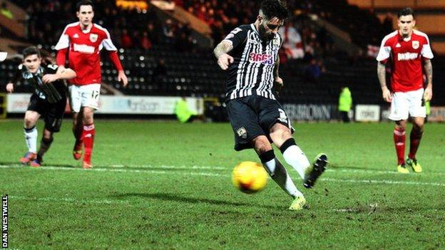 Alan Sheehan scores from the penalty spot to earn Notts County a draw against Bristol City