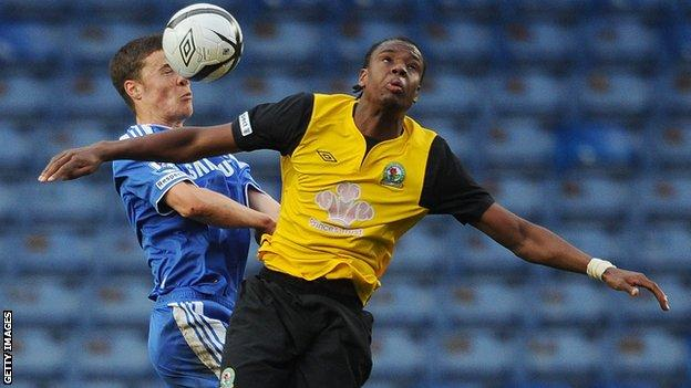 Blackburn Rovers striker Curtis Haley (right)