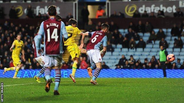 Sheffield United's Ryan Flynn scores for his side against Aston Villa