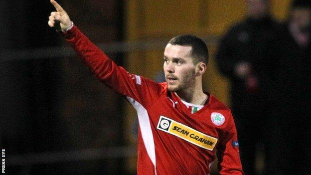 Martin Donnelly celebrates scoring against Ballinamallard