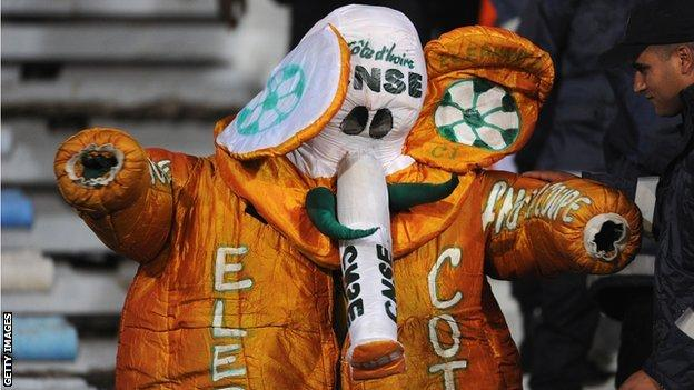 Ivory Coast fan dressed as an elephant