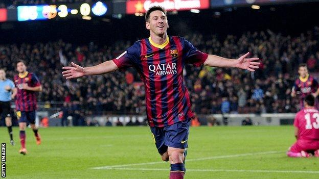 Messi celebrates after scoring against Getafe.