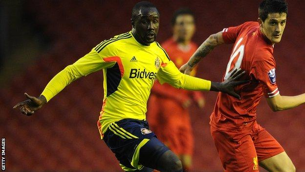 Sunderland midfielder Cabral (left) in action for the club's reserves