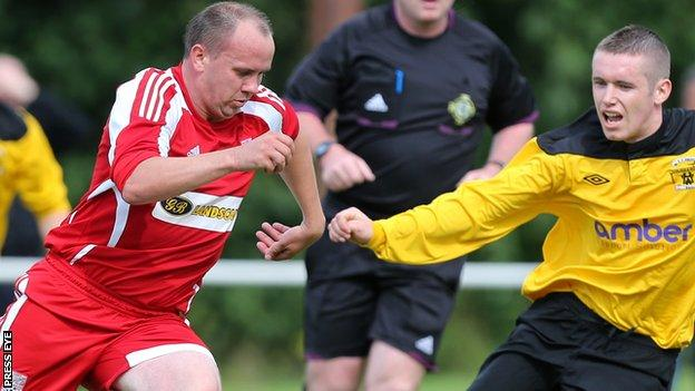 Richard Clarke in Championship One action for Dergview against H&W Welders