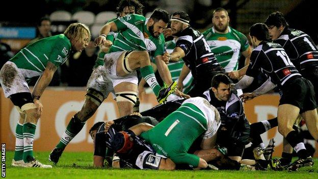 Chris York of Newcastle Falcons tries to dig the ball out during the Amlin Challenge Cup match between Newcastle Falcons and Brive