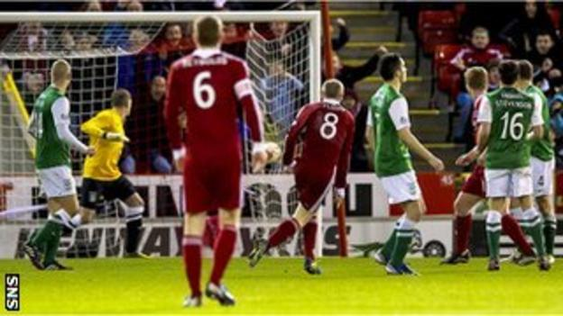Willo Flood (No.8) watches his right-foot strike sail past Hibs goalkeeper Ben Williams