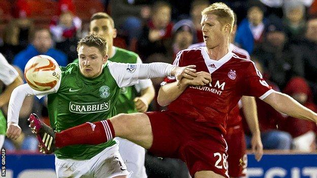 Hibernian lost 1-0 at Pittodrie