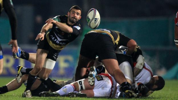 Eric Escande delivers the ball for Montpellier during their defeat by Ulster in Pool 5 at Ravenhill