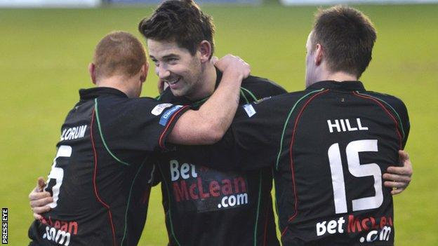 Curtis Allen celebrates scoring against Portadown on his Glentoran debut