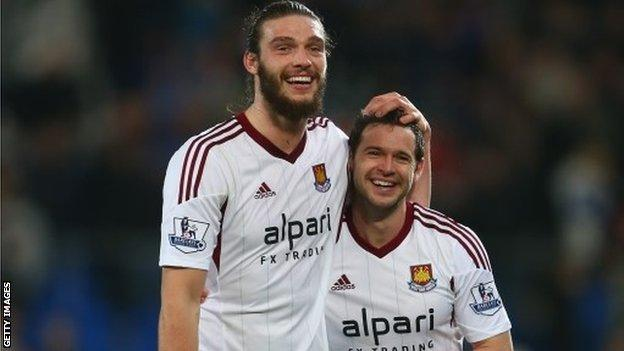 West Ham's Andy Carroll and Matt Jarvis