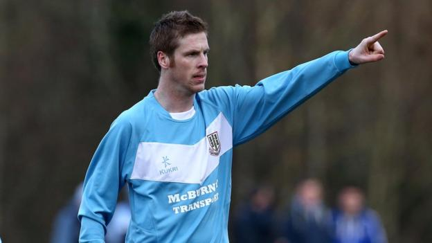 Darren Boyce celebrates after scoring Ballymena's equaliser against H&W Welders on his debut for the Sky Blues